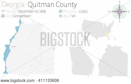 Large And Detailed Map Of Quitman County In Georgia, Usa.