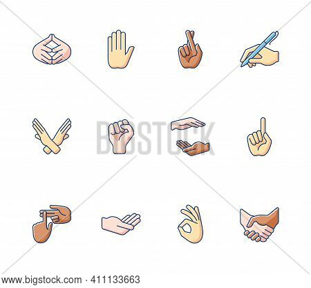 Hand Gestures Rgb Color Icons Set. One Finger - Pointing. Hand Writing With Pen. Gesturing. Improvin