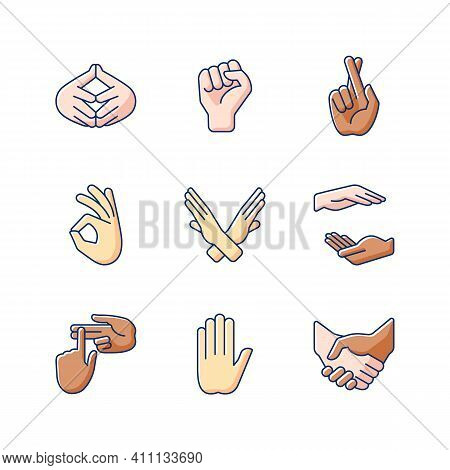 Hand Gestures Rgb Color Icons Set. One Finger - Pointing. Counting On Fingers. Handshake. Crossed Ar