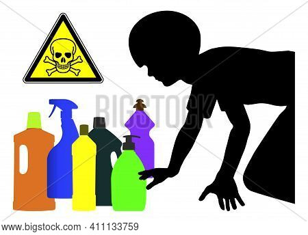 Household Detergents Are Dangerous For Kids. Keep Your Laundry And Cleaning Products Away From Child