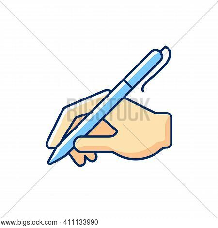 Hand Writing With Pen Rgb Color Icon. Ability To Write Correctly. Andwriting. Signature Of Documents