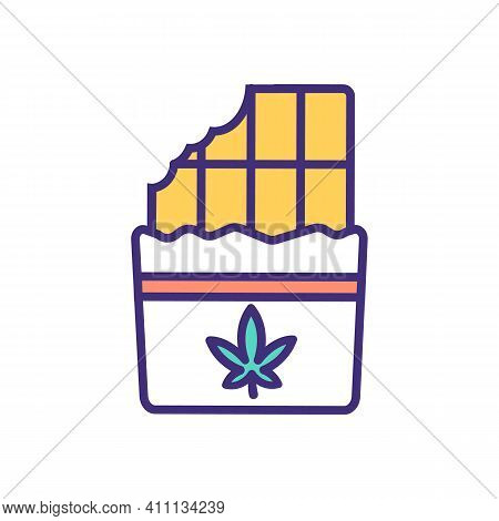 Cannabis Edible Rgb Color Icon. Food Product. Chocolates With Marijuana Extract. Cannabis-infused Ba