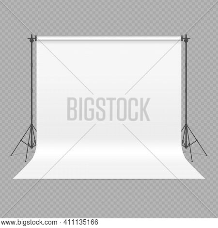 Empty Photo Studio Concept. 3d Template Mock Up In Realistic Style Isolated On Transparent Backgroun
