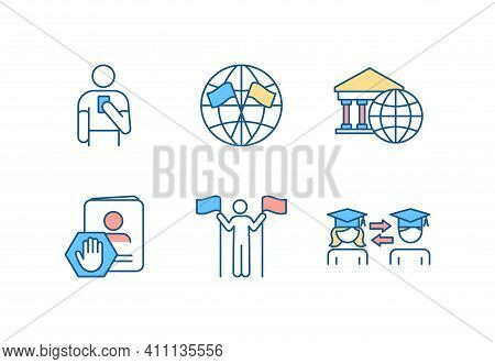 International Affairs Rgb Color Icons Set. Diplomatic Mission. Embassy. Citizenship Service. Legal S
