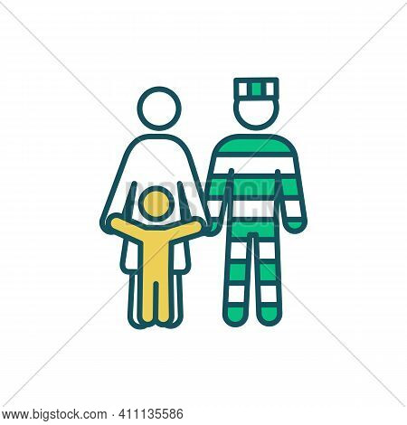 Prisoner Family Support Rgb Color Icon. Raising Kid With Parent In Prison. Imprisonment Influence On