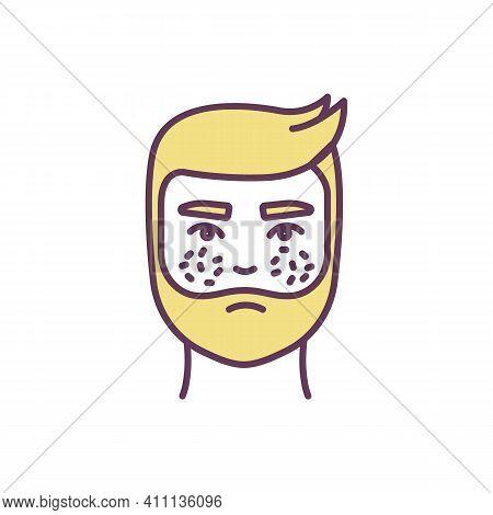 Rosacea Rgb Color Icon. Chronic Rash Involving Face. Acne-like Breakouts. Inflammatory Skin Conditio