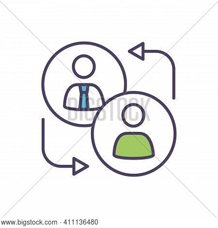 Replacement Worker Rgb Color Icon. Employment Relationship. Job Searching, Getting. Hiring Temporary