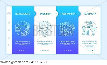 Testing Scientific Theory And Knowledge Onboarding Vector Template. Replicability And Falsifiability