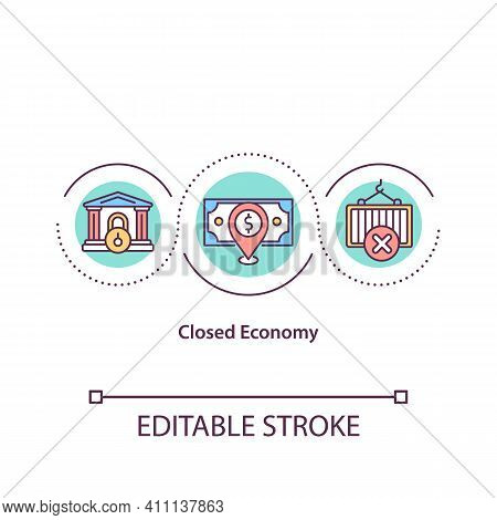 Closed Economy Concept Icon. No Trading Activity With Outside Economies. Imports Into Country Idea T