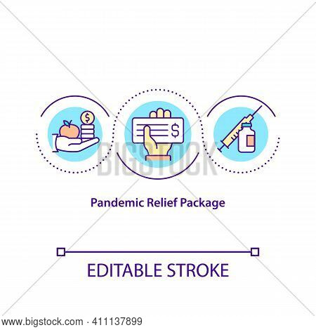 Pandemic Relief Package Concept Icon. Helping Companies To Deal With Covid Pandemic Problems. Financ