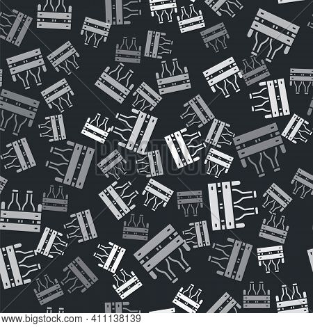Grey Pack Of Beer Bottles Icon Isolated Seamless Pattern On Black Background. Wooden Box And Beer Bo
