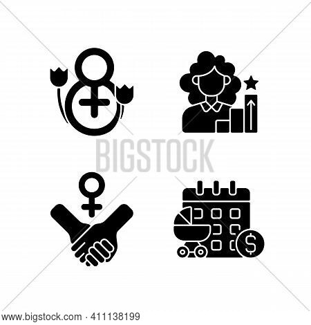 Feminism Black Glyph Icons Set On White Space. Girl Power. Women Day. Paid Maternity Leave. Women In