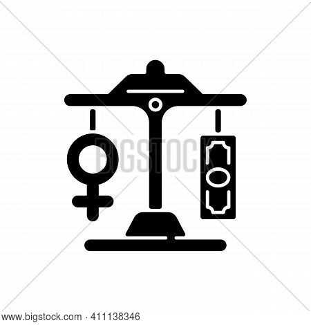 Equal Pay Black Glyph Icon. Gender Pay Gap Decrease. Difference Between Male And Female Earnings. Ex