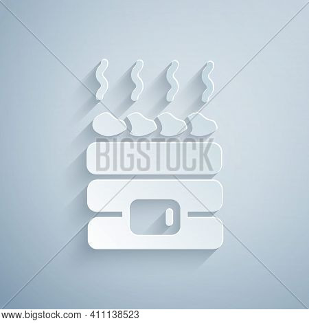 Paper Cut Hot Sauna Stones Icon Isolated On Grey Background. Spa Resort Recreation, Bathhouse Relaxa