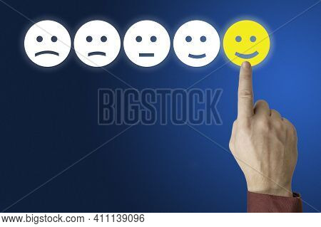 Human Hand Is Rating With Happy Icon. Ranking And Customer Satisfaction Concept. Hand Press On Excel