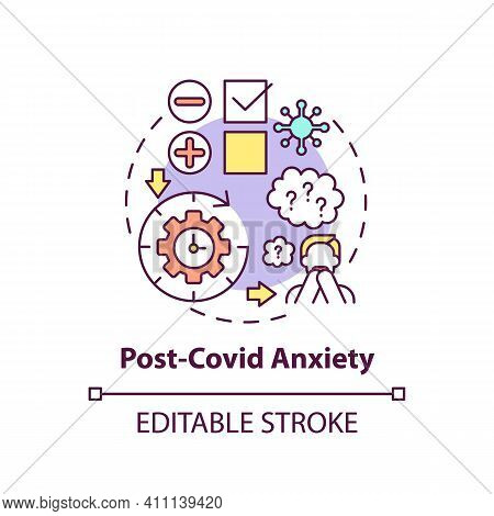 Post-covid Anxiety Concept Icon. Emotional And Physical Problems Idea Thin Line Illustration. Depres