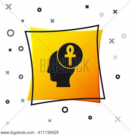 Black Cross Ankh Icon Isolated On White Background. Yellow Square Button. Vector