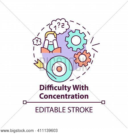 Difficulty With Concentration Concept Icon. Psychological Problems Idea Thin Line Illustration. Slee