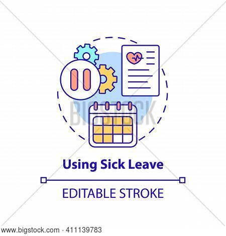 Using Sick Leave Concept Icon. Let Staff Telework Idea Thin Line Illustration. Paid Time Off From Wo