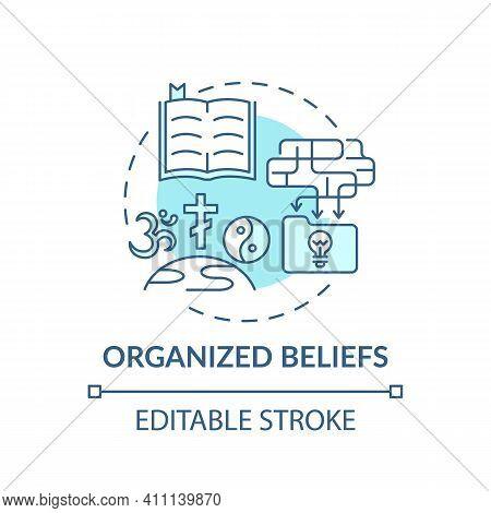 Organized Beliefs Turquoise Concept Icon. Institutional Religion. Spirituality And Faith. Religious