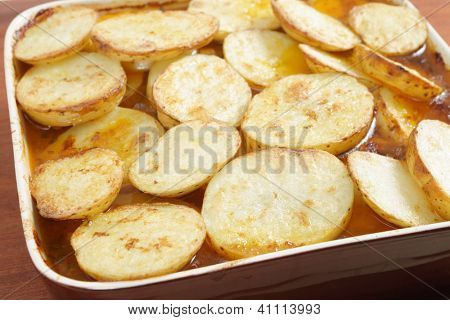 A homemade Lancashire hotpot with a traditional topping of browned potato slices