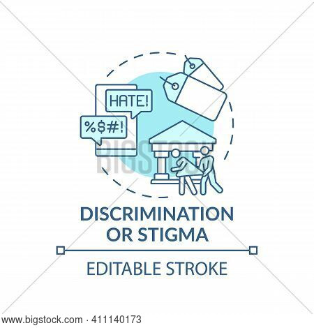 Discrimination Or Stigma Turquoise Concept Icon. Social Pressure, Human Harassment And Bullying. Rel