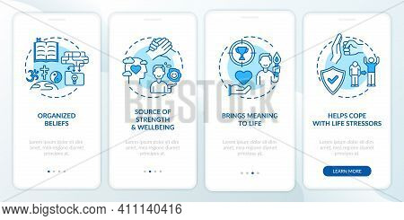 Religious Faith Value Blue Onboarding Mobile App Page Screen With Concepts. Source Of Strength. Mean