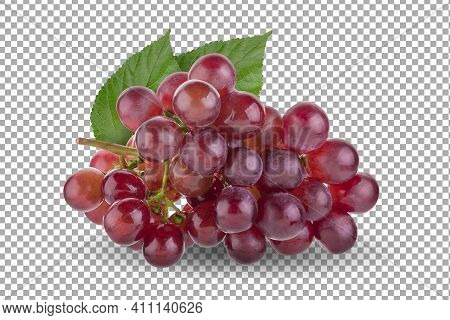 Red Grapes Isolated On Over Alpha Background With Clipping Path.