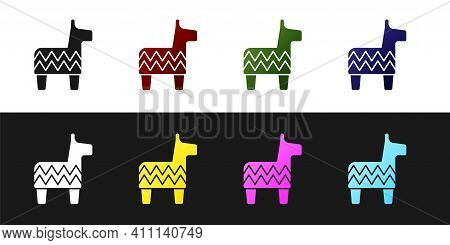 Set Pinata Icon Isolated On Black And White Background. Mexican Traditional Birthday Toy. Vector