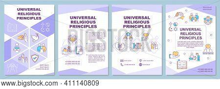 Universal Religious Principles Brochure Template. Social Awareness. Flyer, Booklet, Leaflet Print, C