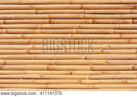 Bamboo Fence Or Wall For Background, Bamboo Row Texture And Pattern