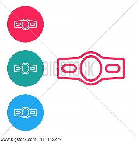 Red Line Boxing Belt Icon Isolated On White Background. Belt Boxing Sport Championship Winner Fight