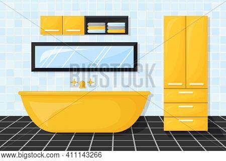 Bathroom With Furniture. Cartoon Interior. Black, Yellow And Blue Bathroom. Vector Illustration.