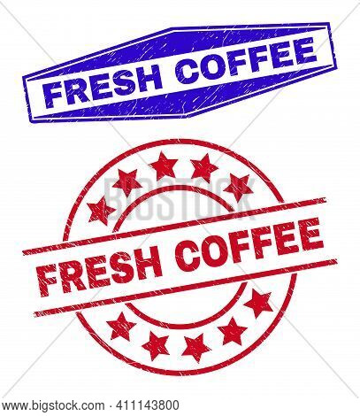 Fresh Coffee Stamps. Red Circle And Blue Stretched Hexagon Fresh Coffee Watermarks. Flat Vector Text