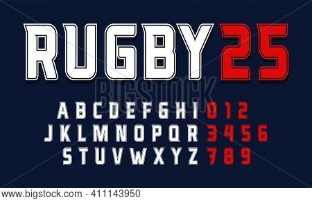 Sport Condensed Alphabet With Outline Contour, Font For Modern American Football Logo, Rugby Gridiro
