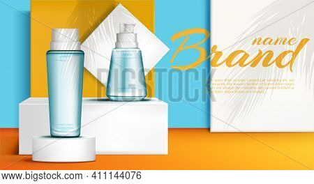 Cosmetic Bottles On Podium Stage Mock Up Banner Of Skin Care Cosmetics Tubes, Make Up Beauty Product