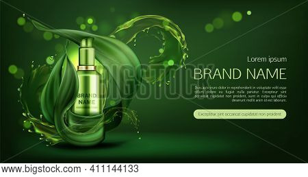 Cosmetics Tube Mock Up Ad Banner, Organic Beauty Product, Natural Skin Care Cream Or Gel Bottle Mock