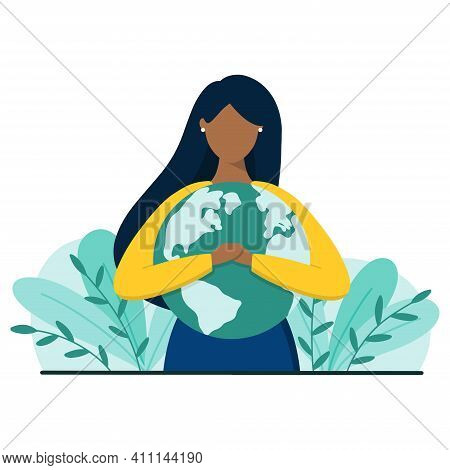 Black Woman Hugs Planet Earth With Love And Care. Earth Day Or Save Planet Concept. Flat Style Vecto