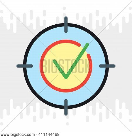 Business Target, Goal Or Aim Icon. Simple Color Version On A Light Gray Background