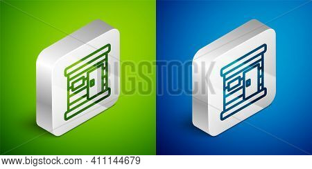 Isometric Line Sauna Wooden Bathhouse Icon Isolated On Green And Blue Background. Heat Spa Relaxatio