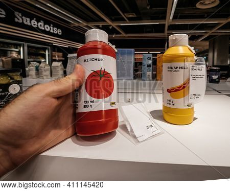Paris, France - Jul 28, 2018: Pov Personal Perspective Male Hand Shopping Inside Ikea Store For Deli
