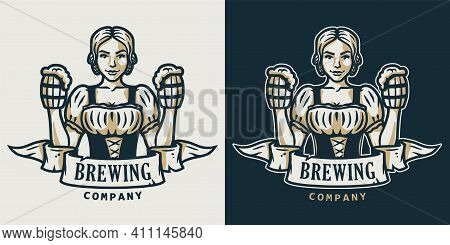 Girl With Beer Pint. Logo For Bevery Bar Or Pub