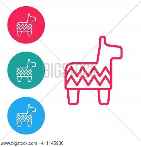 Red Line Pinata Icon Isolated On White Background. Mexican Traditional Birthday Toy. Set Icons In Ci