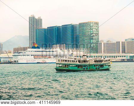 Hong Kong, Hong Kong - November 09, 2012: Passanger Ferry Boat In The Victoria Harbor, Hong Kong