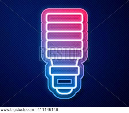 Glowing Neon Line Led Light Bulb Icon Isolated On Blue Background. Economical Led Illuminated Lightb