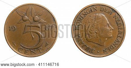 Netherlands Five Cent Coin On White Isolated Background