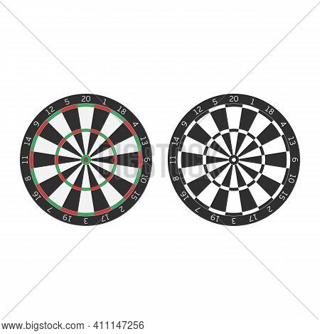 Dart Boards In Realistic Style. Classic Darts Board With Twenty Black And White Sectors. Game Concep