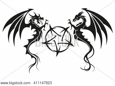 Dragons With Pentagram - Dragon Symbol Tattoo, Black And White Vector Illustration