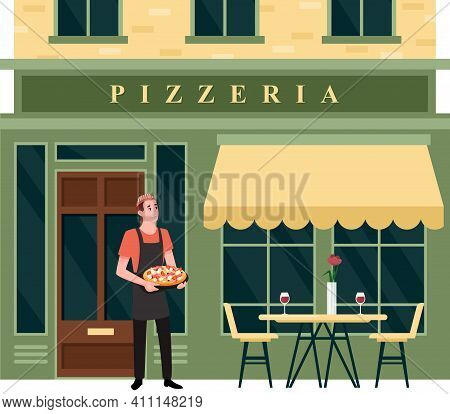 Pizzeria City Street Facade, Small Food Business, Happy Chef Character Holding Pizza