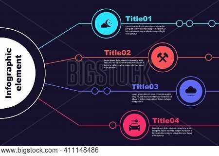 Set Cloud With Moon And Stars, Two Crossed Hammers, Network Cloud Connection And Car Rental. Busines